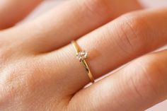 Solid 14k or 18k Gold Herkimer Diamond Ring. by CharmStoneEstonia