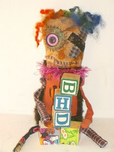 Cloth Monster Doll Bethie May Grungy Spooky by MysticHillsNgaroma, $55.00