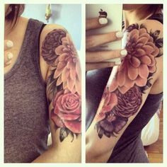 Tattoo flowers arm manchette flower