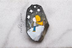 The Little Prince Painted stone by ColorJuice Pebble Painting, Pebble Art, Stone Painting, Diy Painting, Stone Crafts, Rock Crafts, Arts And Crafts, Christmas Rock, Hand Painted Rocks