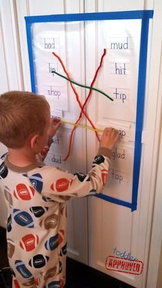 Hands-on fun! Pipe Cleaner Rhyming Sticky Wall. {Toddler Approved!}