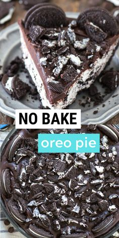 Easy to make no bake oreo pie with oreo crust! Gluten free option available and it's only 8 ingredients. People LOVE this oreo pie! Oreo Pie Recipes, Oreo Dessert Recipes, Pie Dessert, Tart Recipes, Cookie Desserts, Sweet Recipes, Baking Recipes, Delicious Desserts, Yummy Food