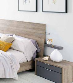 Cabeceros de cama modernos. Incluye prácticos flexos de iluminación orientable en el cabecero de la colección Nuit de Kibuc.