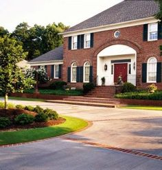 Red Brick House Light Trim Black Shutters Door Dream Exterior