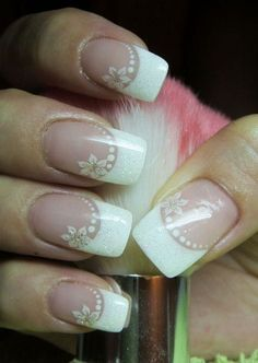 SAMSUNG DIGITAL CAMERA French Manicure Nails, Gel Nails, Acrylic Nails, White Manicure, Bride Nails, Wedding Nails, French Nails, Acrylic Nail Designs, Nail Art Designs