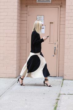 Bold polka dot skirt.