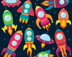 Retro Rockets Clip Art Clipart Spaceship Rocketship Space Rocket Ship Clipart Clip Art Vectors - Commercial and Personal Use USD) by PinkPueblo Art Clipart, Space Party, Space Theme, Space Classroom, Diy And Crafts, Crafts For Kids, Retro Rocket, Astronauts In Space, Space Rocket