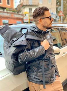 Dunut collection 2020 backpack, ready for a shopping day. Geneva Switzerland, Swiss Design, Shopping Day, Designer Backpacks, Leather Jacket, Seasons, Winter, Jackets, Accessories