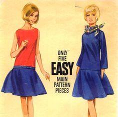1960s Butterick 4165 Mod Drop Waist Dress  Easy Sewing Pattern Contour Belt
