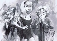 PIECES OF JILL THOMPSON'S PITCH ART FOR A NEVER MADE SANDMAN MOVIE TRILOGY: Oh, Just Three Ladies