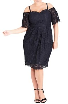 394c282702a Trendy Plus Size Off-The-Shoulder Lace Dress in 2019
