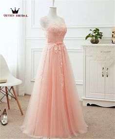 2018 Blush Pink Prom Dresses Long Appliques Lace Zipper Back Floor Length Tulle Illusion Formal Evening Party Dress Real. Pink Bridesmaid Dresses Long, Homecoming Dresses Long, Elegant Prom Dresses, Tulle Prom Dress, Prom Party Dresses, Pastel Prom Dress, Pastel Pink Dresses, Soft Pink Dress, Wedding Dresses
