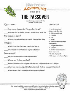 Enjoy our free Bible Quiz, The Passover (Pesach). Fun for kids to print and test their knowledge of Passover and the Appointed Times. Share with others! Bible Resources, Bible Activities, Church Activities, Bible Study For Kids, Bible Lessons For Kids, Bible Quiz, Bible Trivia, Trivia Games, Scriptures For Kids