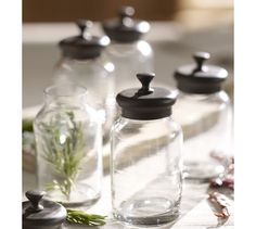 Single Glass Spice Jar with Bronze finish Lid.  Pottery Barn.