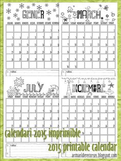 Calendari mensual 2015 imprimible / 2015 Printable Monthly Calendar (english, català and spanish versions)