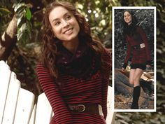Spencer Hastings Nautical Sweater Dress: Zara or Ralph Lauren, Flat Riding Boots: Frye or Ferragamo