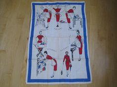Vintage Tea Towel 1950s Housewife