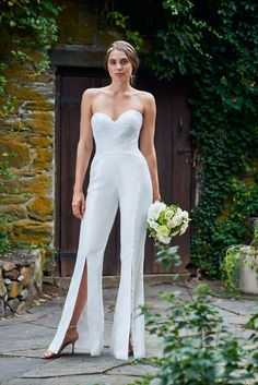 3cab4b31477c This  BariJay 2088  strapless  wedding jumpsuit features a fitted lace  bodice with a