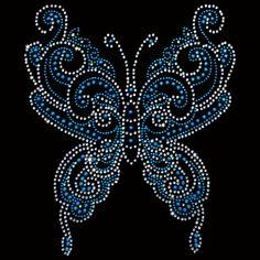 8x10  - Blue Swirly Rhinestone/Rhinestud Butterfly - butterfly rhinestones rhinestuds, Flowers Butterflies and Birds, Material Transfer, Butterflies