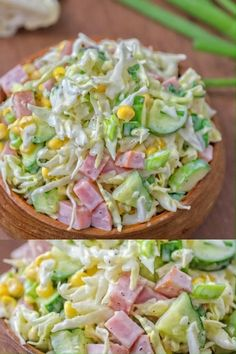 Made with fresh cabbage, cucumbers, ham, corn and scallions, this tasty and crunchy Cabbage and Ham Salad makes a quick lunch or side dish. Ham And Cabbage, Cabbage Recipes, Meat Appetizers, Appetizer Recipes, Best Salad Recipes, Healthy Recipes, Healthy Ramen, Quick Lunch Recipes, Salad Recipes Video