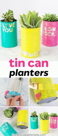 These tin can planters are perfect to make for Spring, Mother's day or a birthday gift! An easy DIY recycled tin can planter craft. Tin Can Crafts | Tin Can Crafts DIY | Tin Can Centerpieces | Tin Can Crafts for Kids | Recycled Crafts | Recycled Crafts for Kids | Recycling Crafts #bestideasforkids #kidscraft #diy #springcraft #mothersday via @bestideaskids
