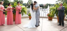 Couple shares first kiss in Plaza de la Fontana pink wedding Mission Inn, First Kiss, Bridesmaid Dresses, Wedding Dresses, Hotel Wedding, Outdoor Ceremony, Plaza, Wedding Ideas, Club