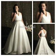 Wholesale Graceful V-neck Beaded Ivory Organza Plus Size Ball Gown Wedding Dresses Pictures 2013, Free shipping, $152.32-169.99/Piece | DHgate