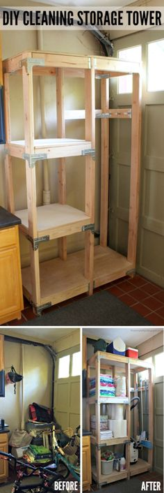 DIY Projects Your Garage Needs -DIY Cleaning Storage Tower - Do It Yourself Garage Makeover Ideas Include Storage, Organization, Shelves, and Project Plans for Cool New Garage Decor Diy Projects Garage, Cool Woodworking Projects, Diy Wood Projects, Diy Woodworking, Home Projects, Garage Ideas, Popular Woodworking, Woodworking Furniture, Woodworking Magazines