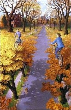 illusn.com: Best Ever Optical Illusions: Painting Cycling boys illusion