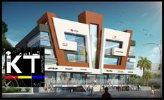 Commercial by architects kt india group modern Building Elevation, Building Exterior, Building Design, House Architecture Styles, Facade Architecture, Facade Design, Exterior Design, Commercial Building Plans, Shopping Mall Architecture
