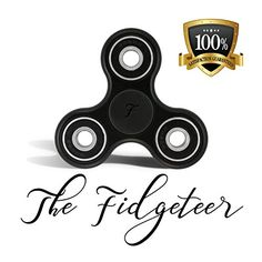 Fidgeteer Fidget Spinner EDC Toy | Anxiety and Stress Relief | Si3N4 Ceramic Bearings | Black