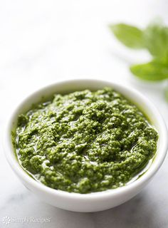 Fresh Basil Pesto ~ Classic, simple basil pesto recipe with fresh basil leaves, pine nuts, garlic, Romano or Parmesan cheese, extra virgin olive oil, and salt and pepper. ~ SimplyRecipes.com