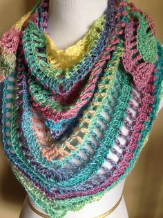 Handmade Crochet Summer Scarf / Shawl in 2015 Spring Colors