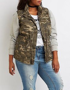 ad25c279a85 Plus Size Camo Knit Sleeves Anorak Jacket