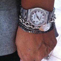 Love to stack!! #bracelets #watch