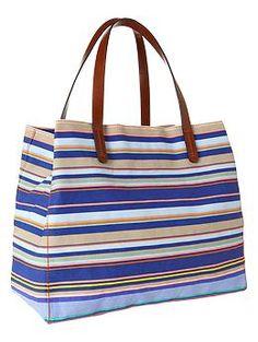 Striped canvas tote - Beach bag!