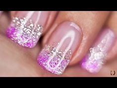 Silver and Pink Glitter nails UV gel - YouTube
