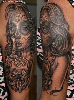 Pin Up Tattoos, Badass Tattoos, Leg Tattoos, Body Art Tattoos, Girl Tattoos, La Muerte Tattoo, Catrina Tattoo, Sugar Tattoo, Sugar Skull Tattoos