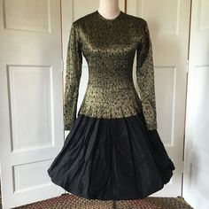 Vtg Angelo Tarlazzi Gold And Black Evening Dress, Made In France, Prom, Party