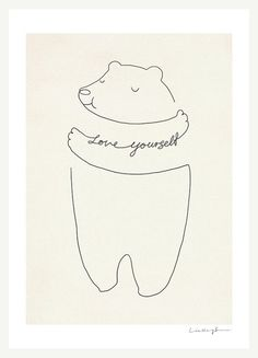 Love Yourself by Lim Heng Swee. Nursery, kids room art. Bear art print.