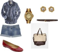Red flats outfit 1: Plaid shirt, denim shorts, satchel One pair of red flats, 4 ways to wear it