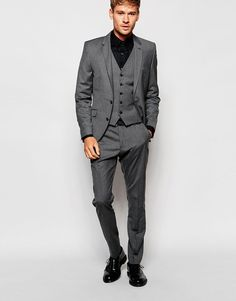 Shop Selected Homme Slim Fit Suit in Gray at ASOS. Fitted Suit, Fashion Online, The Selection, Suit Jacket, Breast, Formal, Fitness, Jackets, Shopping