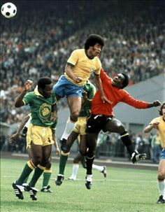 Brazil 3 Zaire 0 in 1974 in Gelsenkirchen. Kazadi Muamba punches clear from Jairzinho in Group 2 at the World Cup Finals.