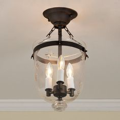 Check out Mini Smokebell Semi-Flush Ceiling Lantern from Shades of Light