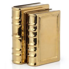 Our gold Ceramic Books held together by these Rhino Bookends are smart additions to your home décor.