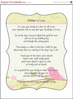 SALE Mother in Law Poem card great addition to a personalized wedding handkerchief. $2.85, via Etsy.