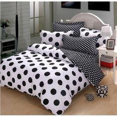Black and White Polka Dot Cotton Duvet Cover Bedding