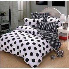 Black and White Polka Dot Cotton Duvet Cover Bedding