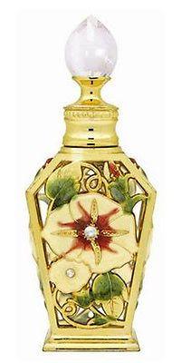 Vintage Flower Gold Metal Crystal Glass Perfume Oil Bottle Refillable