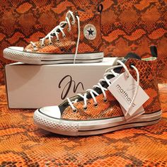 Converse All Star, Orange Python Collection ! #handmade with passion by #matthewsmilano #sneakers #custom #python #orange #allstar #converse #art #passion #love #black